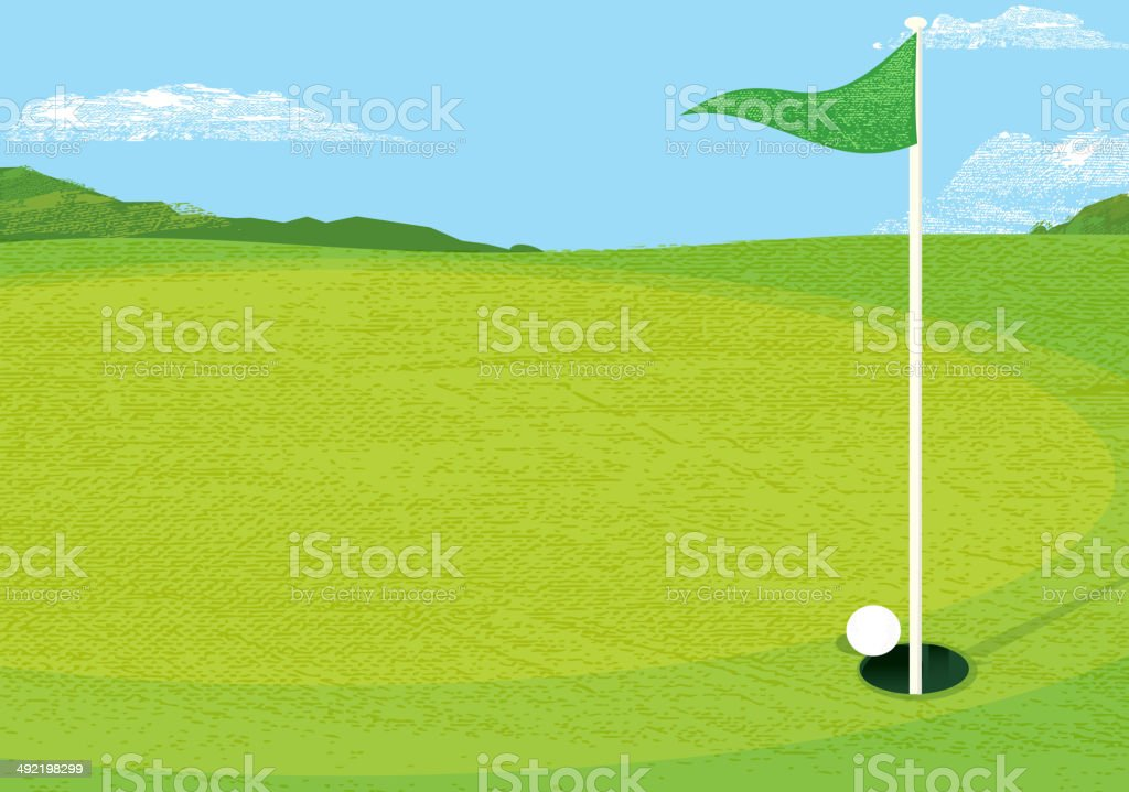 Golf course putting green with flag horizontal composition vector art illustration