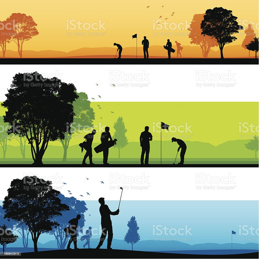 Golf course silhouettes vector art illustration