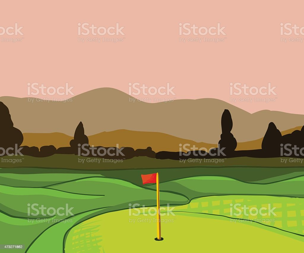 Golf course vector background vector art illustration
