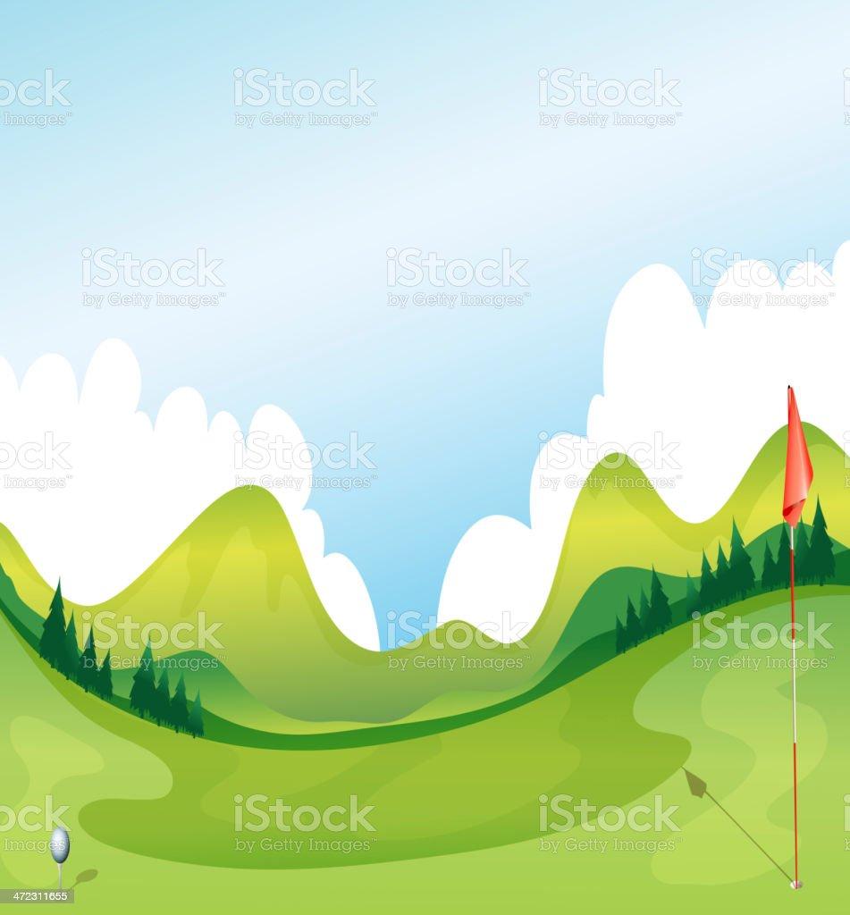 Golf course vector art illustration