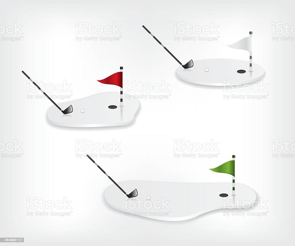Golf course white illustration vector art illustration