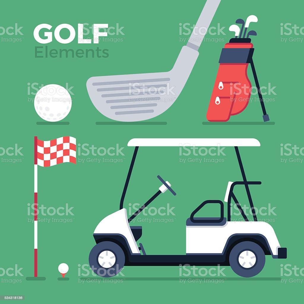 Golf Elements and Symbols vector art illustration