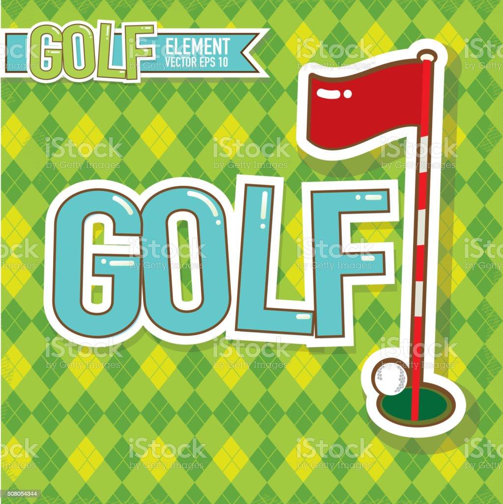 Golf emblem design golf flag and ball and argyle background vector art illustration