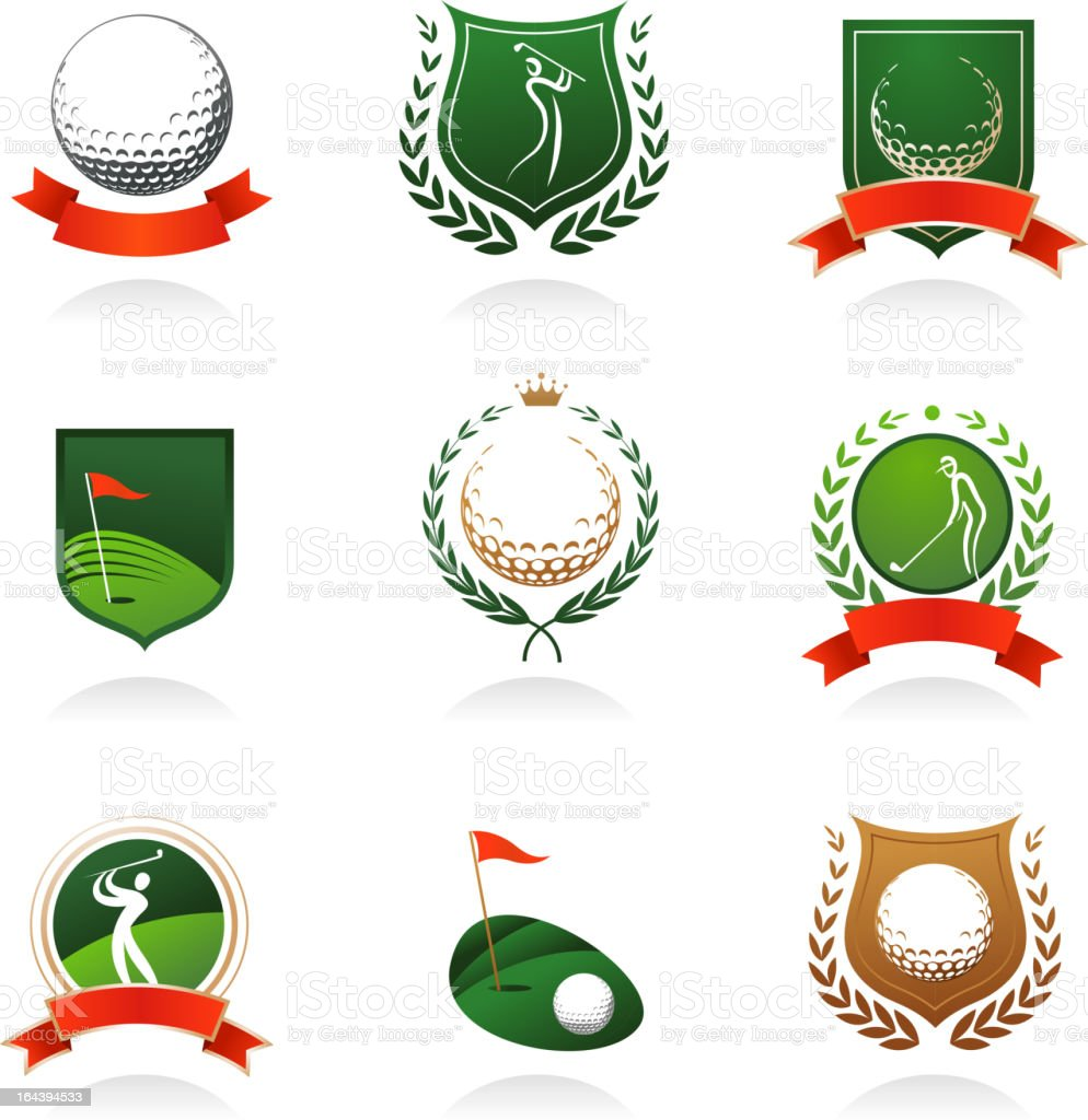 Golf emblems and badges vector art illustration