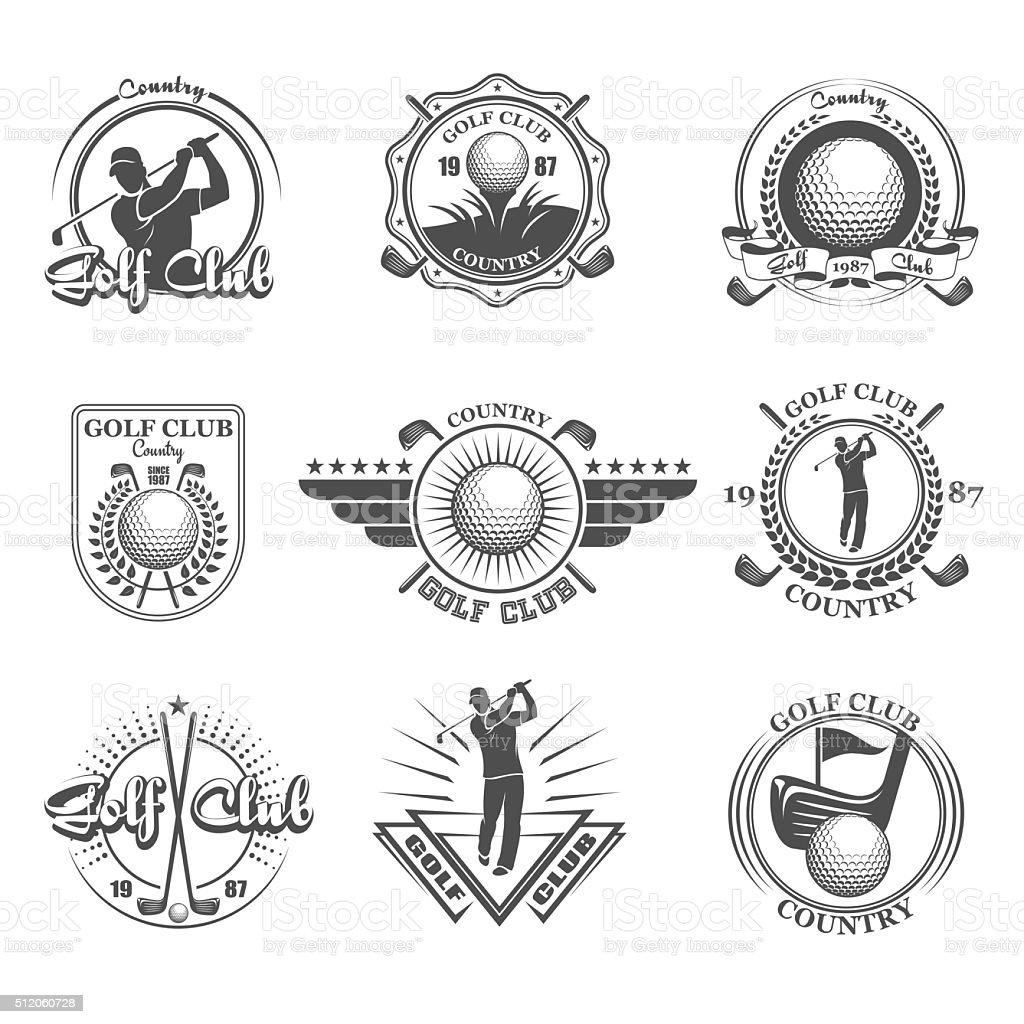Golf emblems set vector art illustration