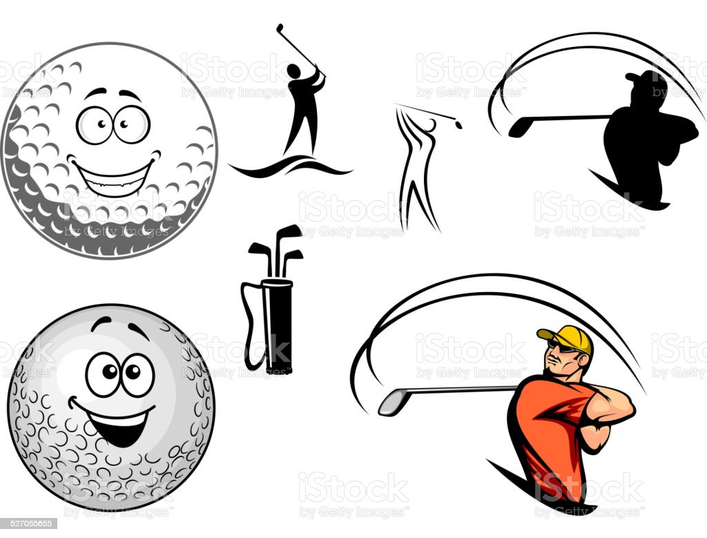 Golf equipment and players vector art illustration