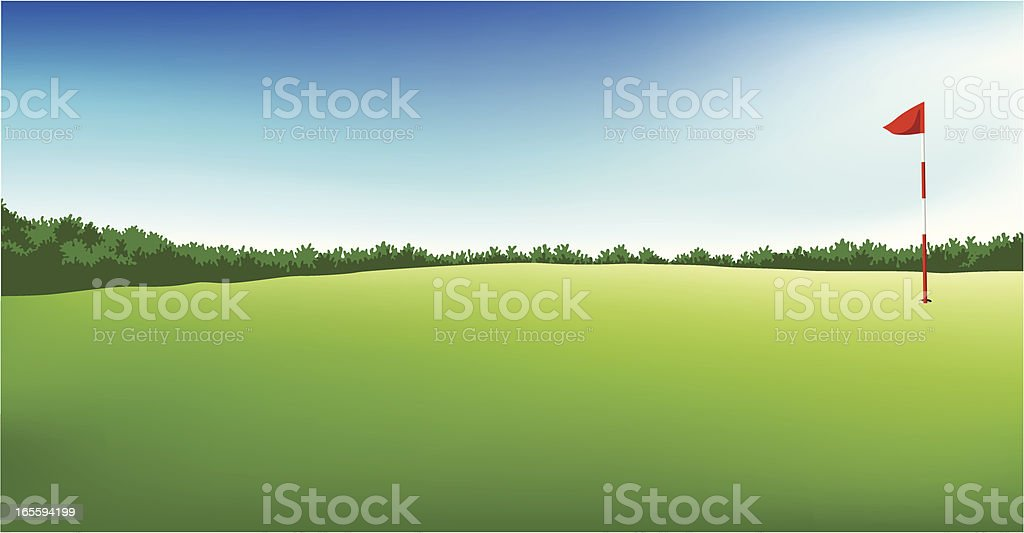 golf field with flag royalty-free stock vector art