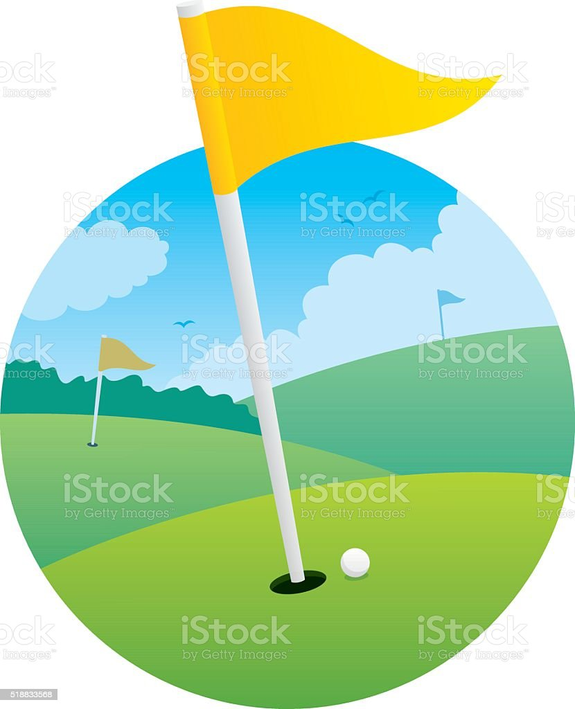 Golf Flag vector art illustration