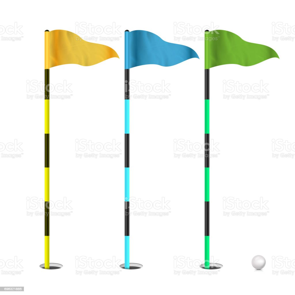 Golf Flags Vector. Realistic Flags Of The Golf Course. Isolated Illustration vector art illustration