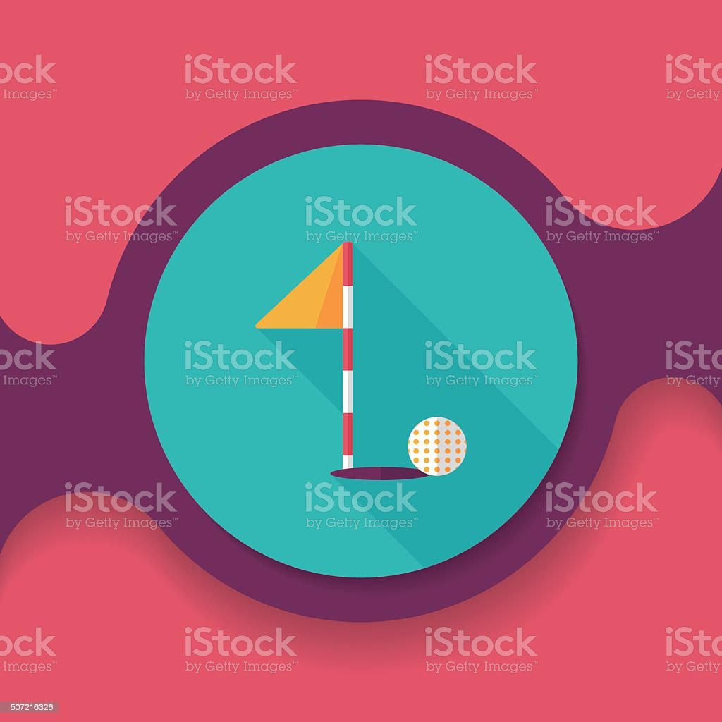 golf flat icon with long shadow,eps10 vector art illustration