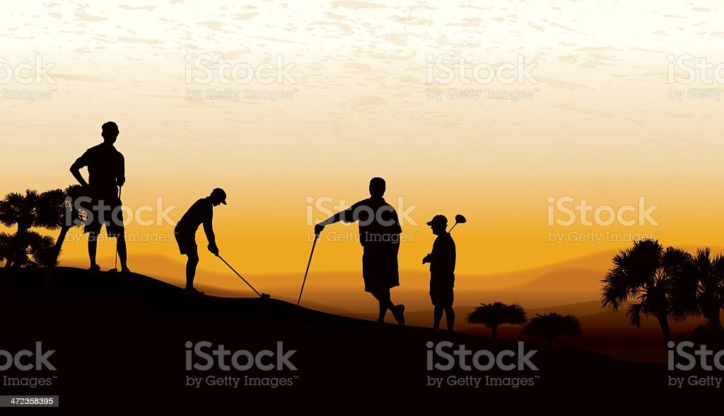 Golf Foursome Teeing Off at Twilight vector art illustration