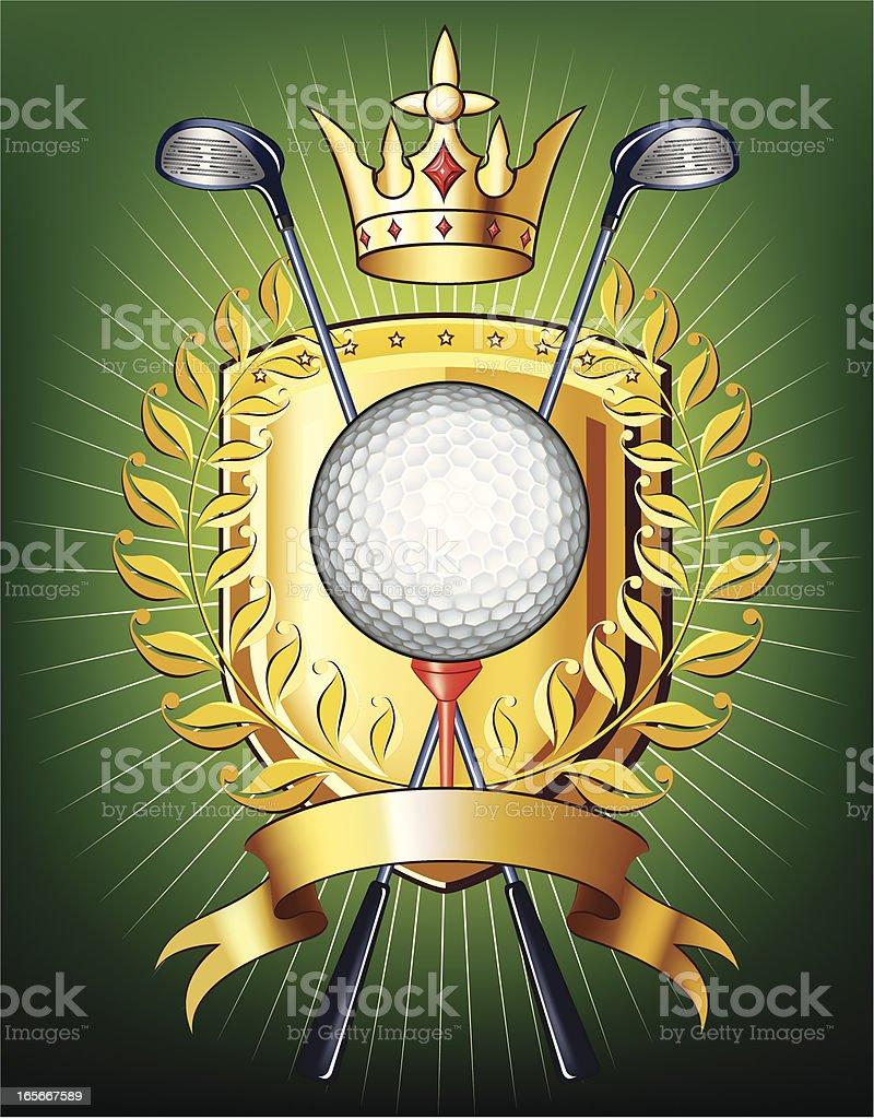 Golf golden shield royalty-free stock vector art