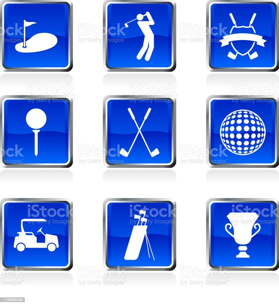 golf golfing royalty free vector arts buttons on black Background vector art illustration