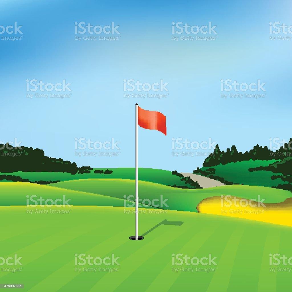 Golf hole vector green tee background vector art illustration