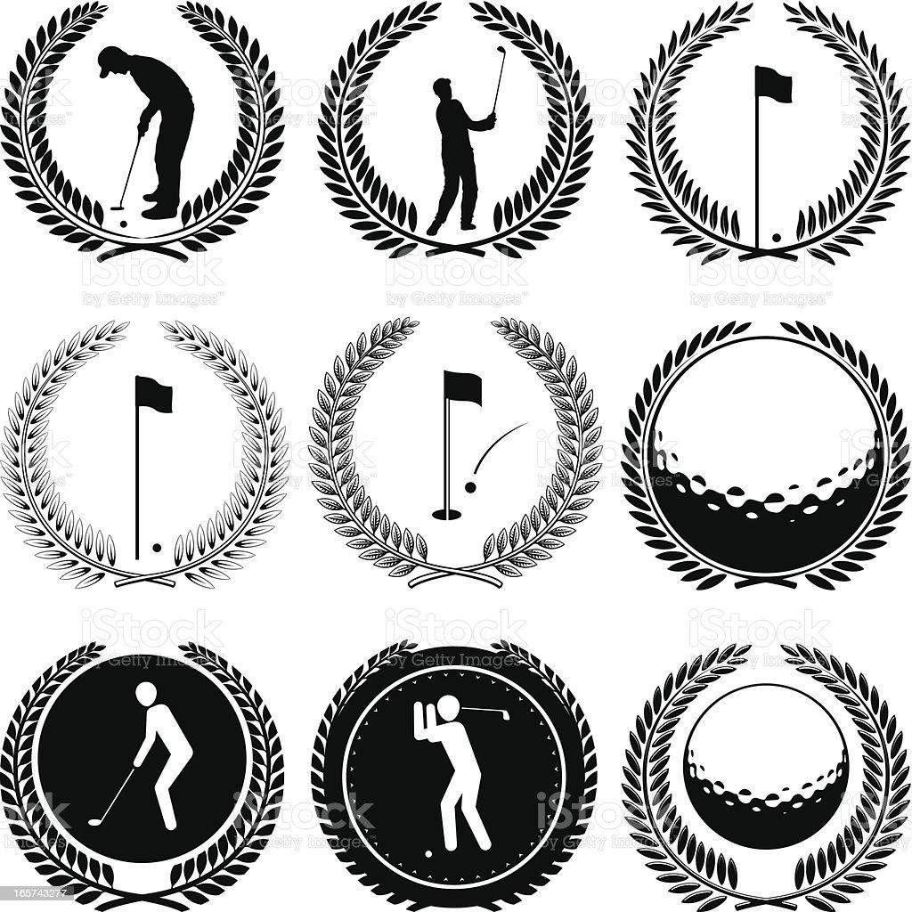Golf icon emblems royalty-free stock vector art