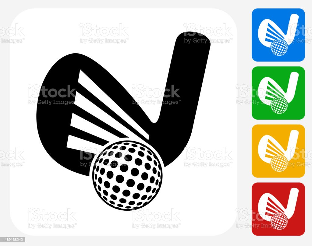 Golf Icon Flat Graphic Design vector art illustration