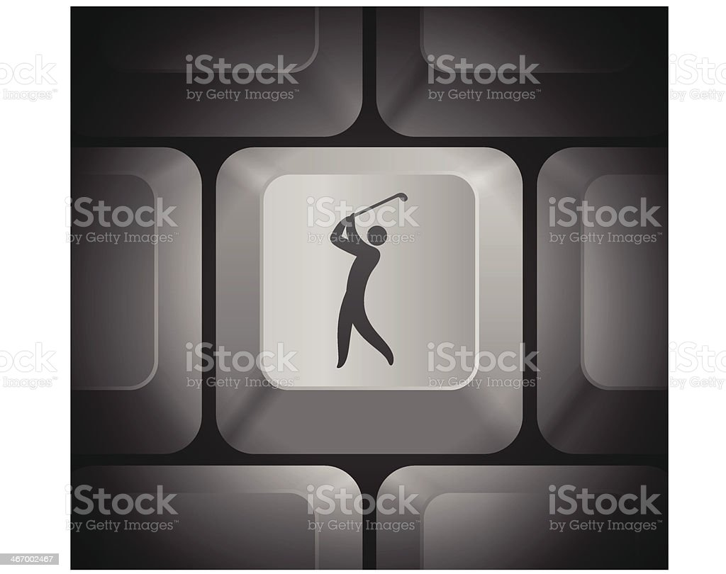 Golf Icon on Computer Keyboard royalty-free stock vector art
