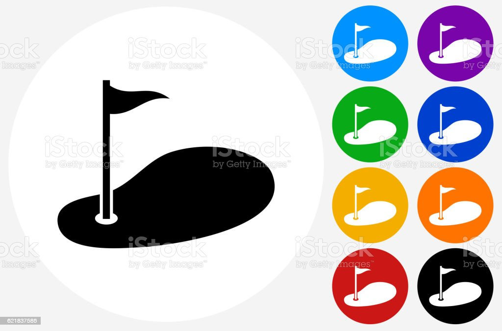 Golf Icon on Flat Color Circle Buttons vector art illustration