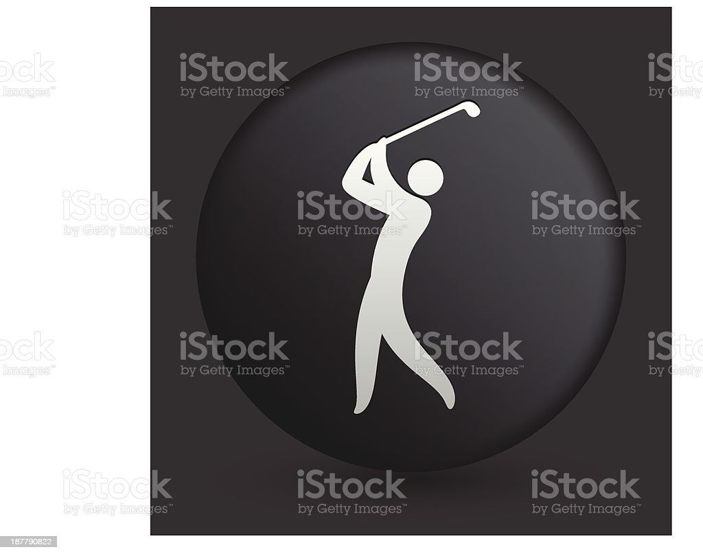 Golf Icon on Round Black Button royalty-free stock vector art