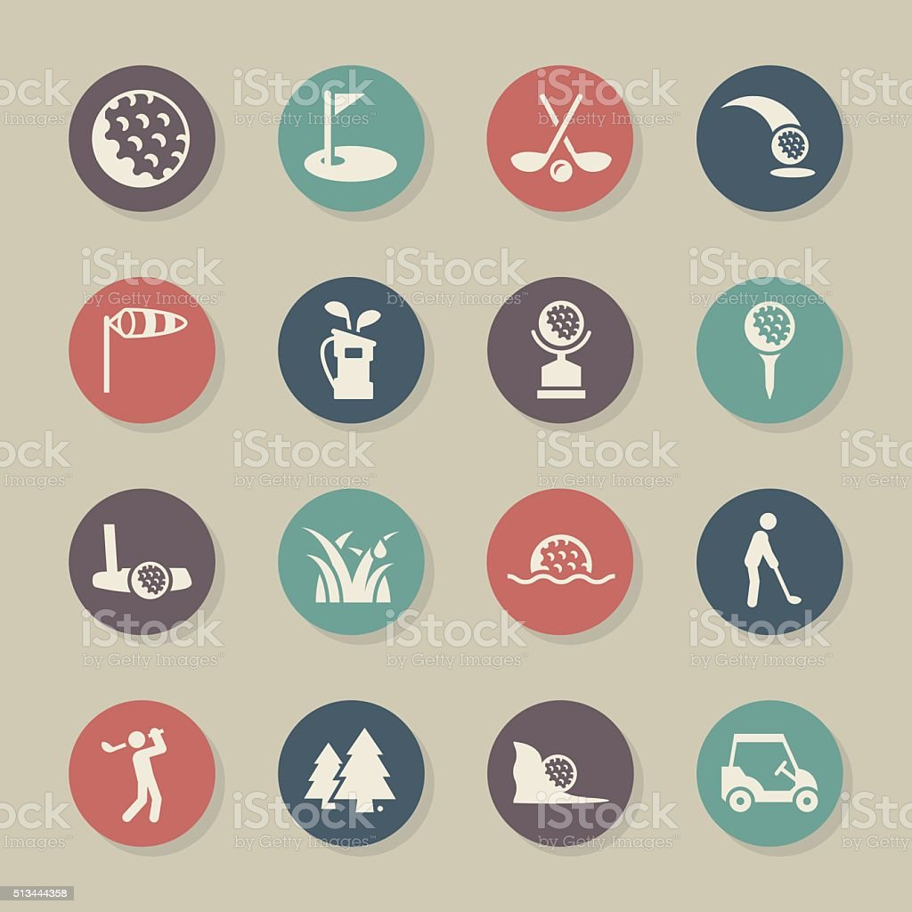 Golf Icons - Color Circle Series vector art illustration