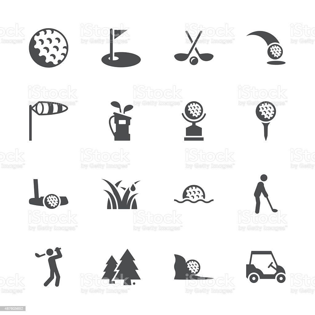 Golf Icons - Gray Series vector art illustration