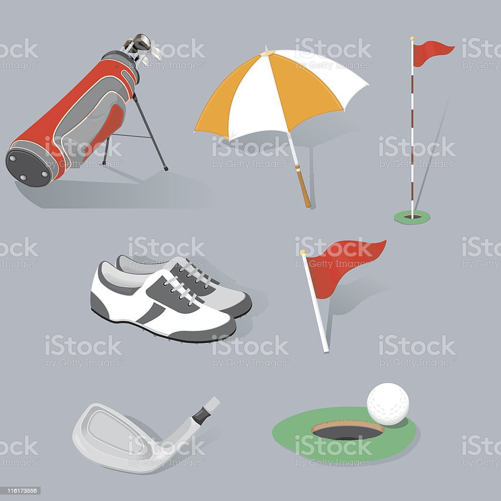 Golf Icons vector art illustration
