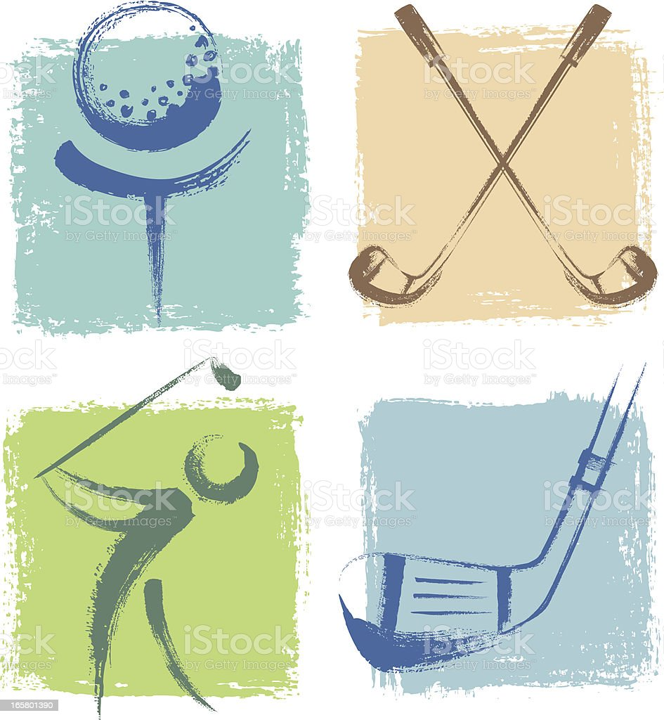 Golf Icons royalty-free stock vector art