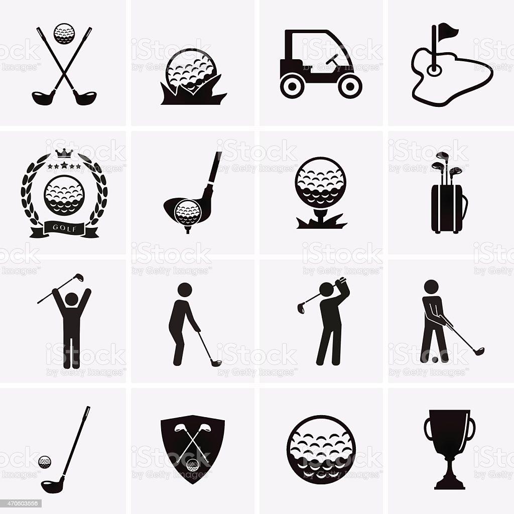 Golf Icons vector art illustration