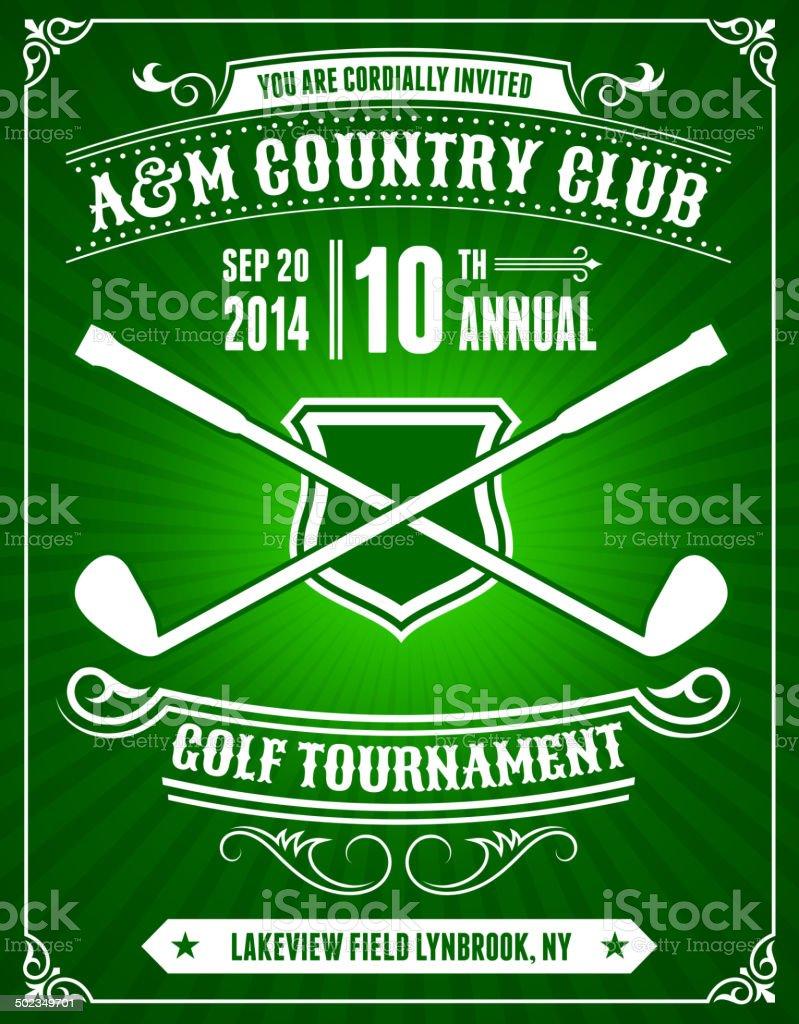 Golf Invitation Tournament on Green Background vector art illustration