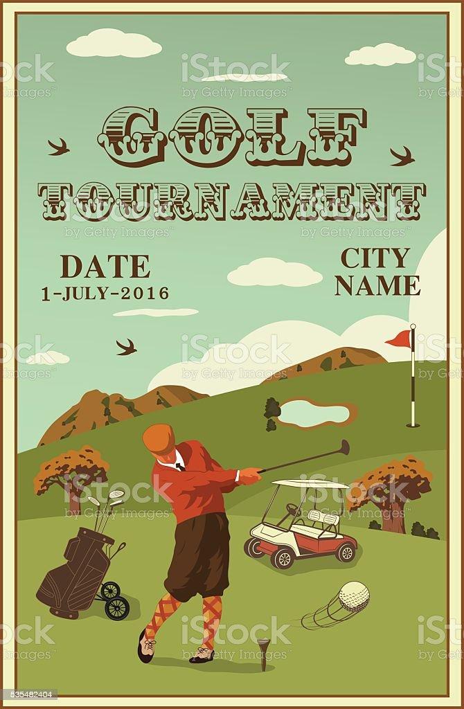 golf labels, badges and emblems vector art illustration
