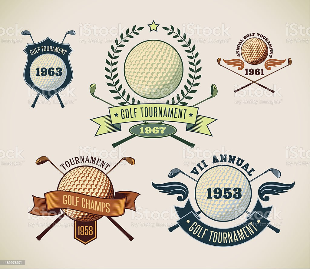 Golf labels vector art illustration