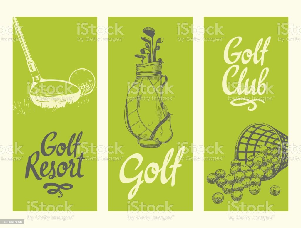 Golf layout banners with ball, backet, bag, clubs. Vector set of...