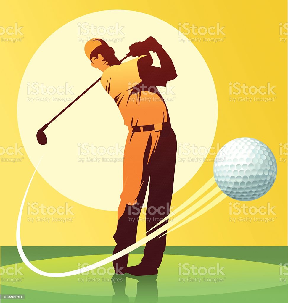 Golf Player Hitting the Ball vector art illustration