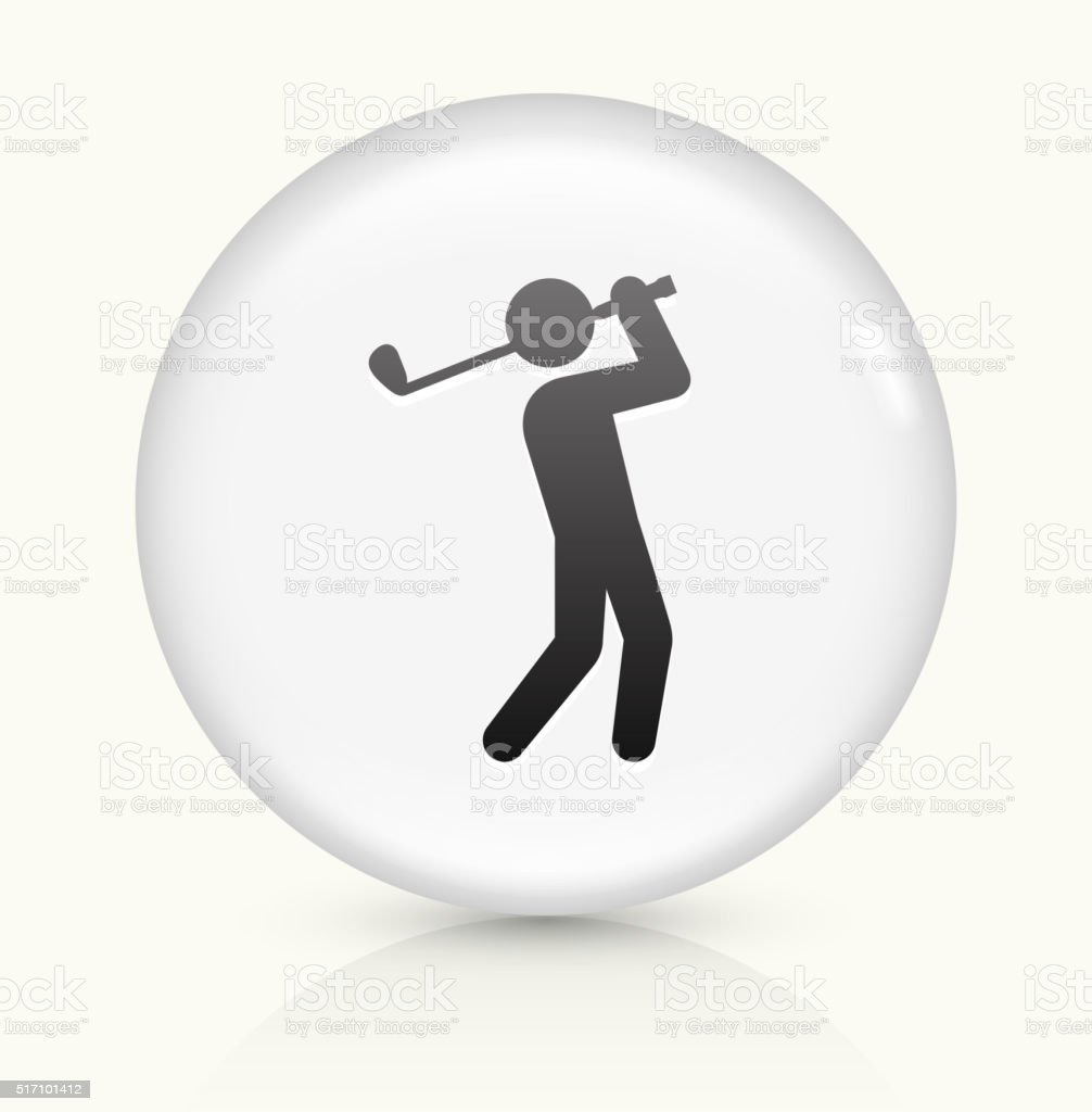 Golf Player icon on white round vector button vector art illustration