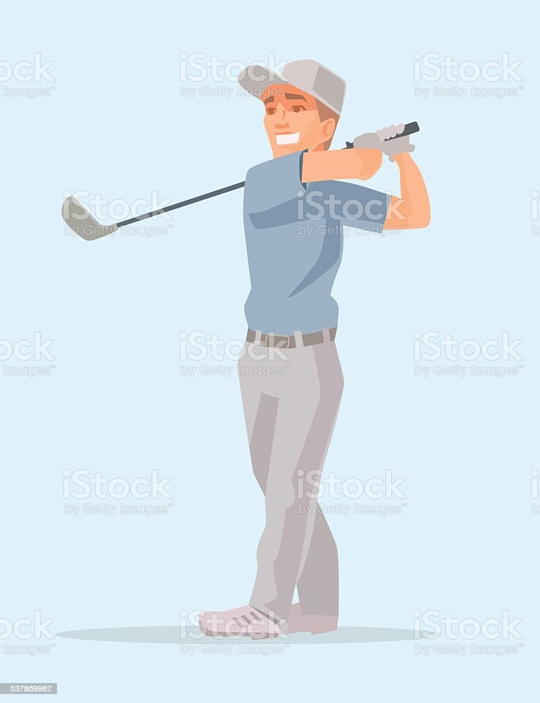 Golf player. Retro isolated golf player vector art illustration