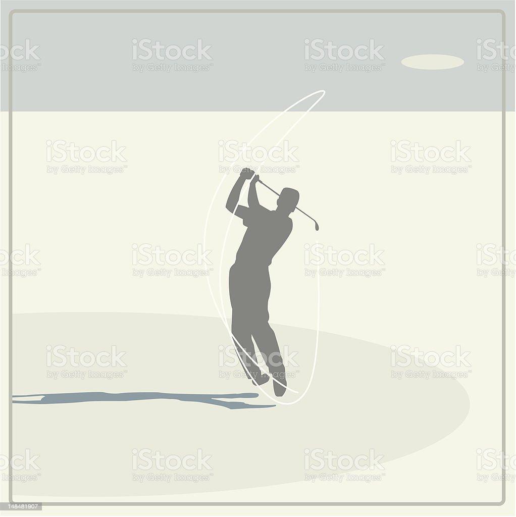 golf player swinging vector art illustration