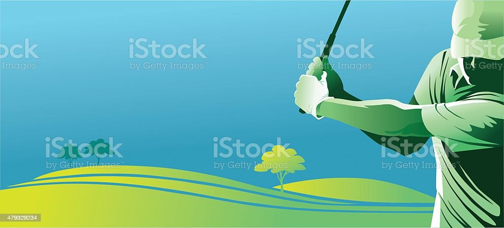 Golf Player Swinging With Copy Space vector art illustration
