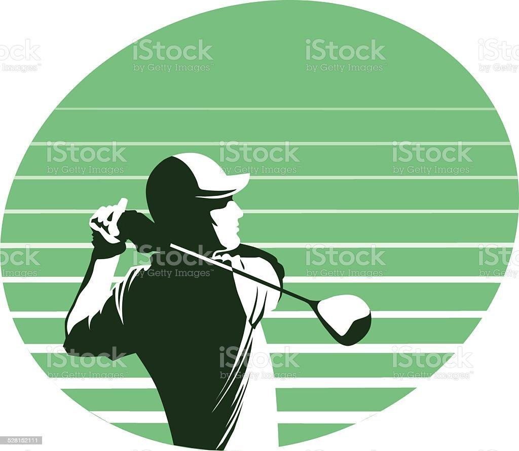 Golf Player Swings on Green Background vector art illustration