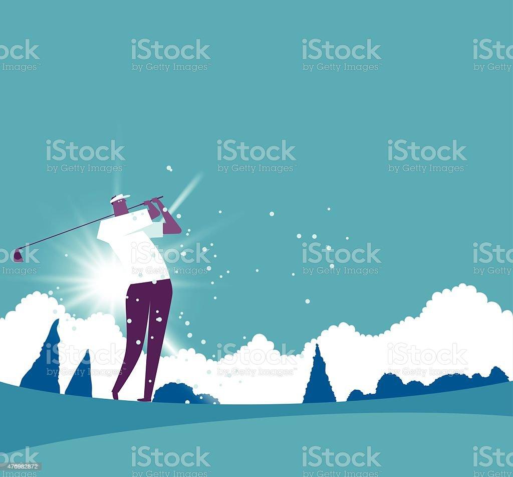 Golf player vector art illustration