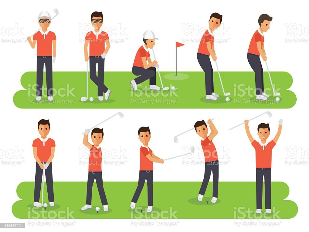 Golf players, golf sport athletes in actions vector art illustration