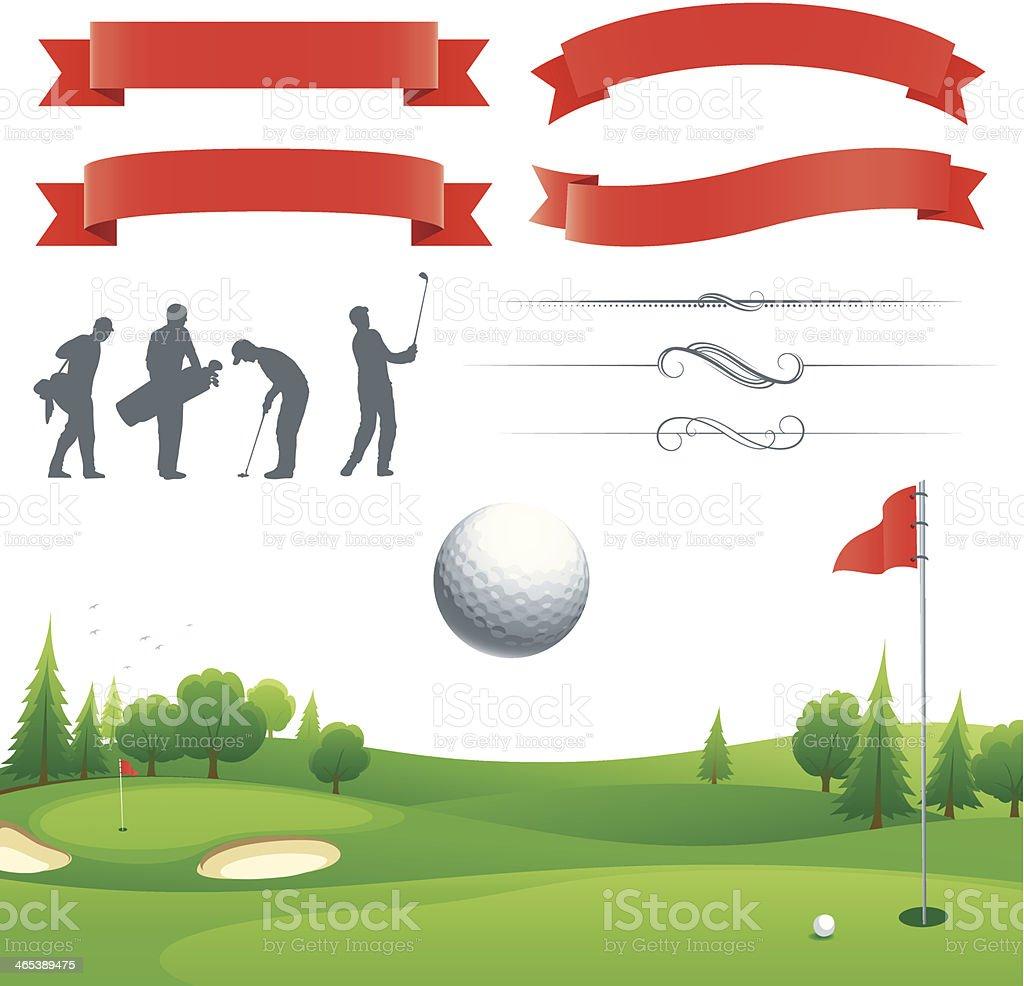 Golf poster elements vector art illustration