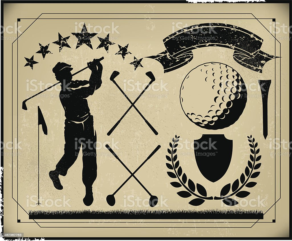 Golf Retro Poster Background Items, Golfer, Club, Sports Ball -...