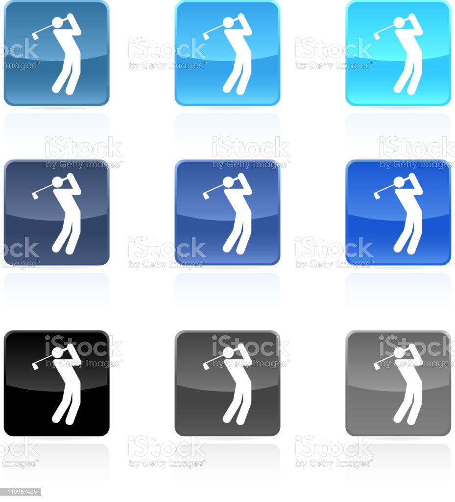 golf royalty free vector art button set in nine colors royalty-free stock vector art