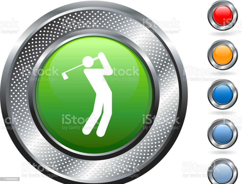 golf royalty free vector art on metallic button royalty-free stock vector art