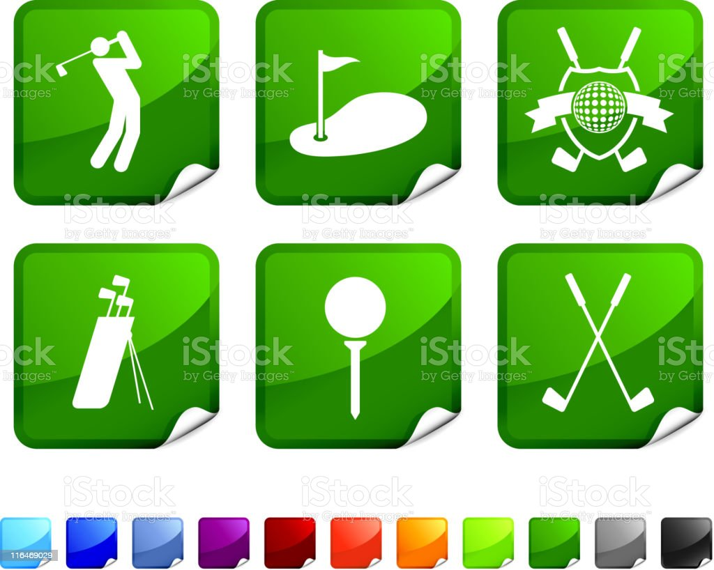 golf royalty free vector icon set vector art illustration
