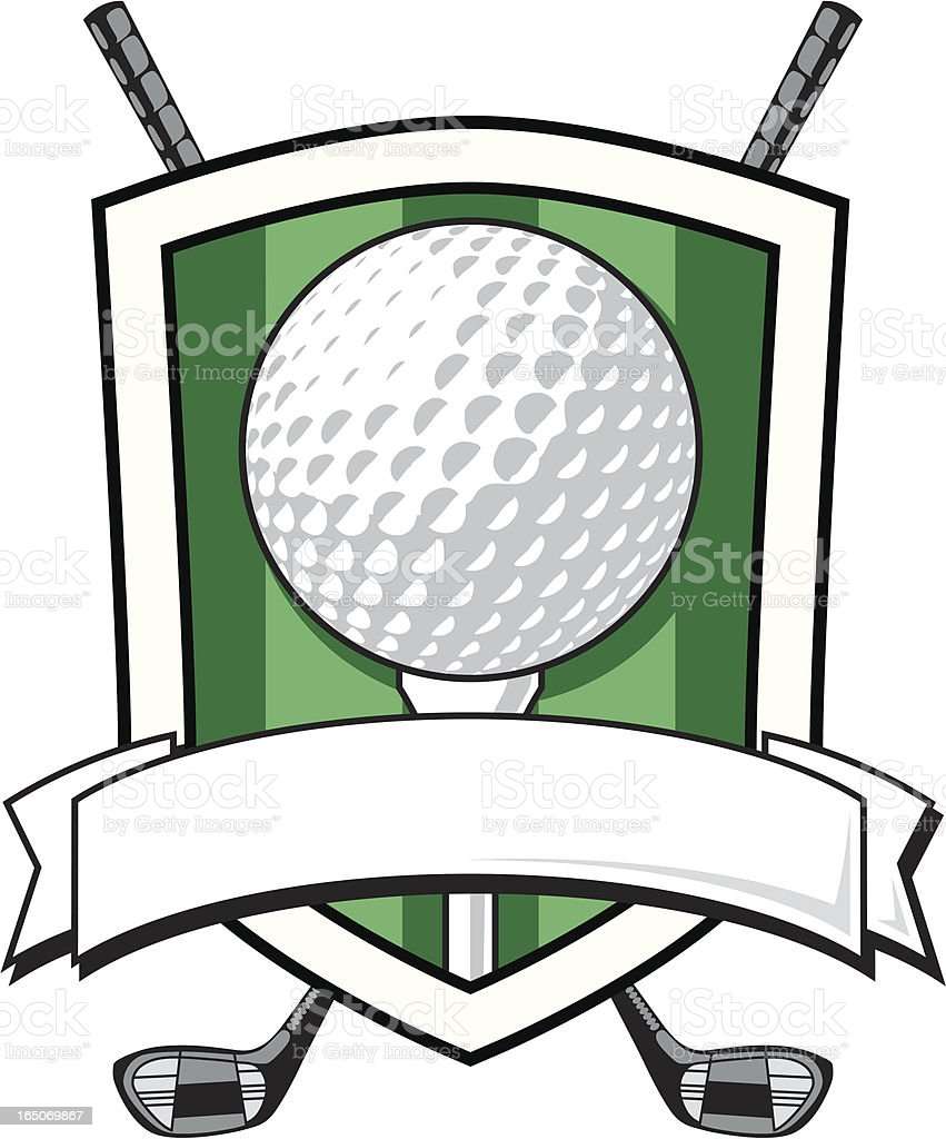 Golf Shield with Banner royalty-free stock vector art