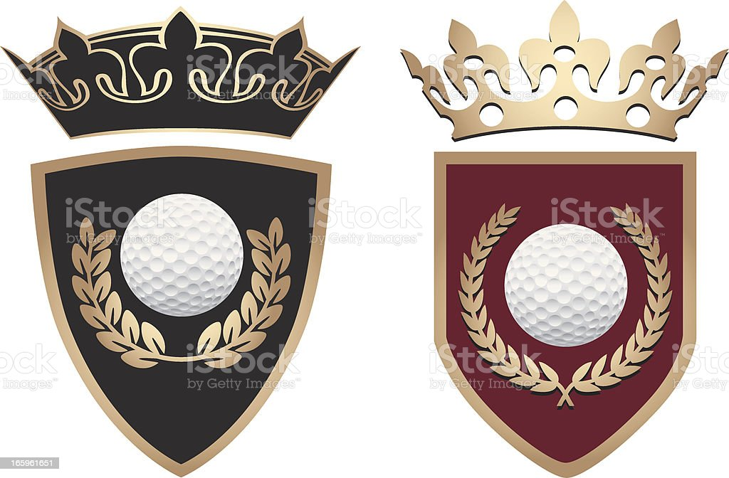 Golf Shields With Crowns royalty-free stock vector art