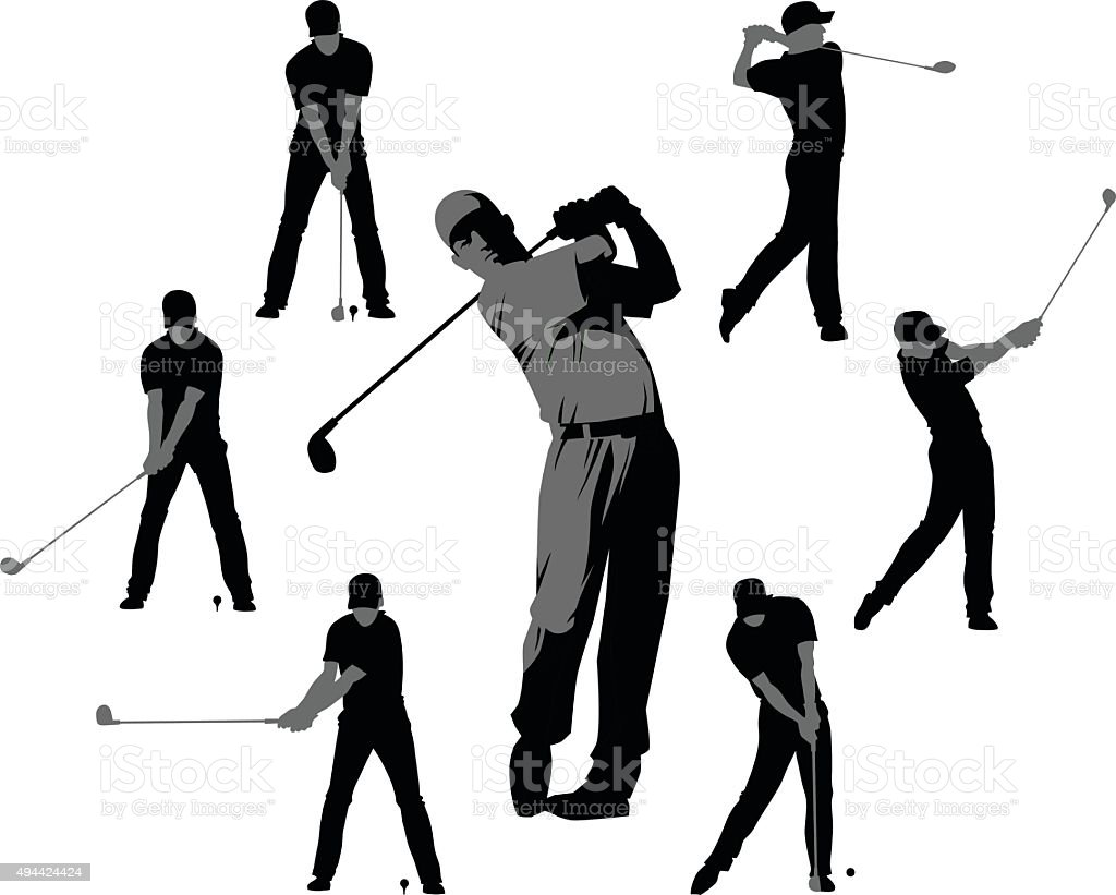 Golf Silhouettes - Set of Seven vector art illustration