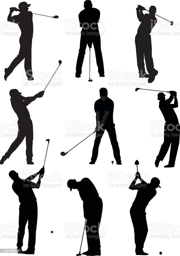 Golf Silhouettes Set vector art illustration