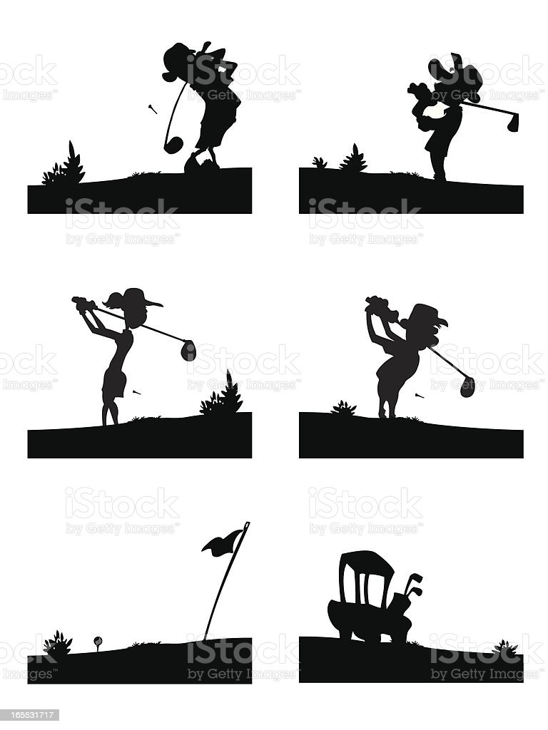 Golf silhouettes royalty-free stock vector art